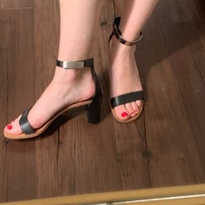 Chloe Black and Silver Ankle Strap Sandal